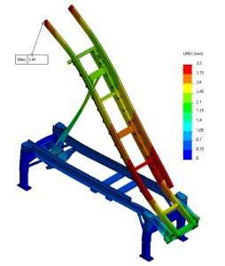 Voorbeeld 3D model op computer waarbij FEM wordt toegepast